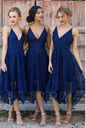 Sleeveless A-Line Bridesmaid Dresses | V-Neck Lace Wedding party dresses #lacebridesmaids