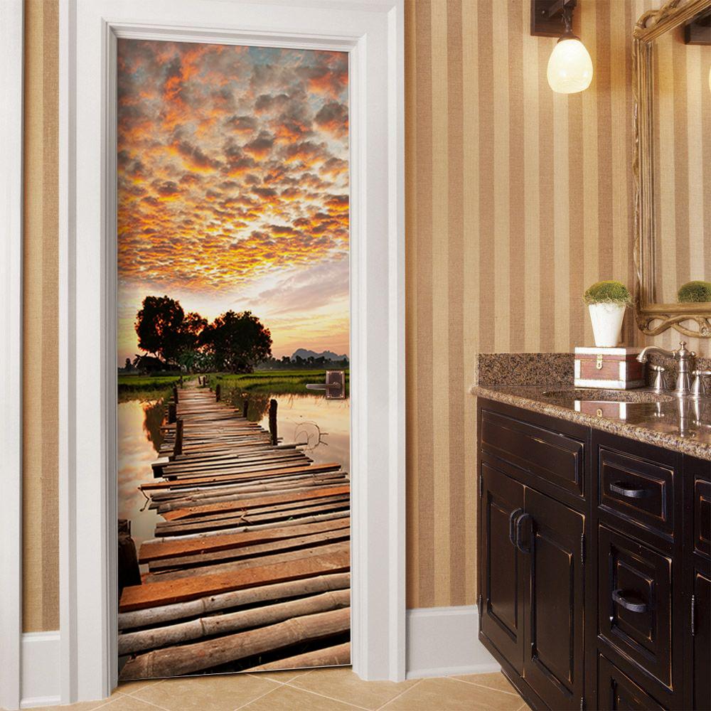Sunset on wood bridge door mural door murals wall murals and