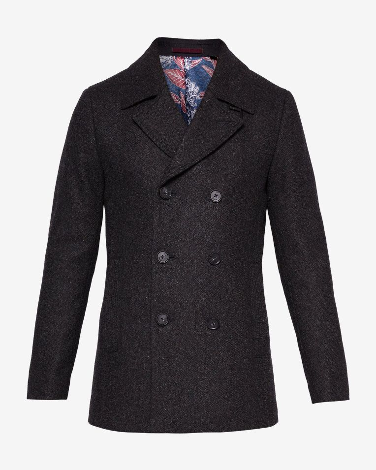 30c58e95954 Ted Baker Zachary Wool peacoat - Charcoal | Fashion AW18 | Designer ...