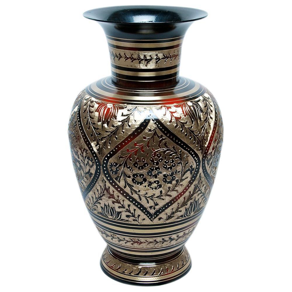 Design Hut Brass Flower Vase Antique Meenakari Work DH 1237