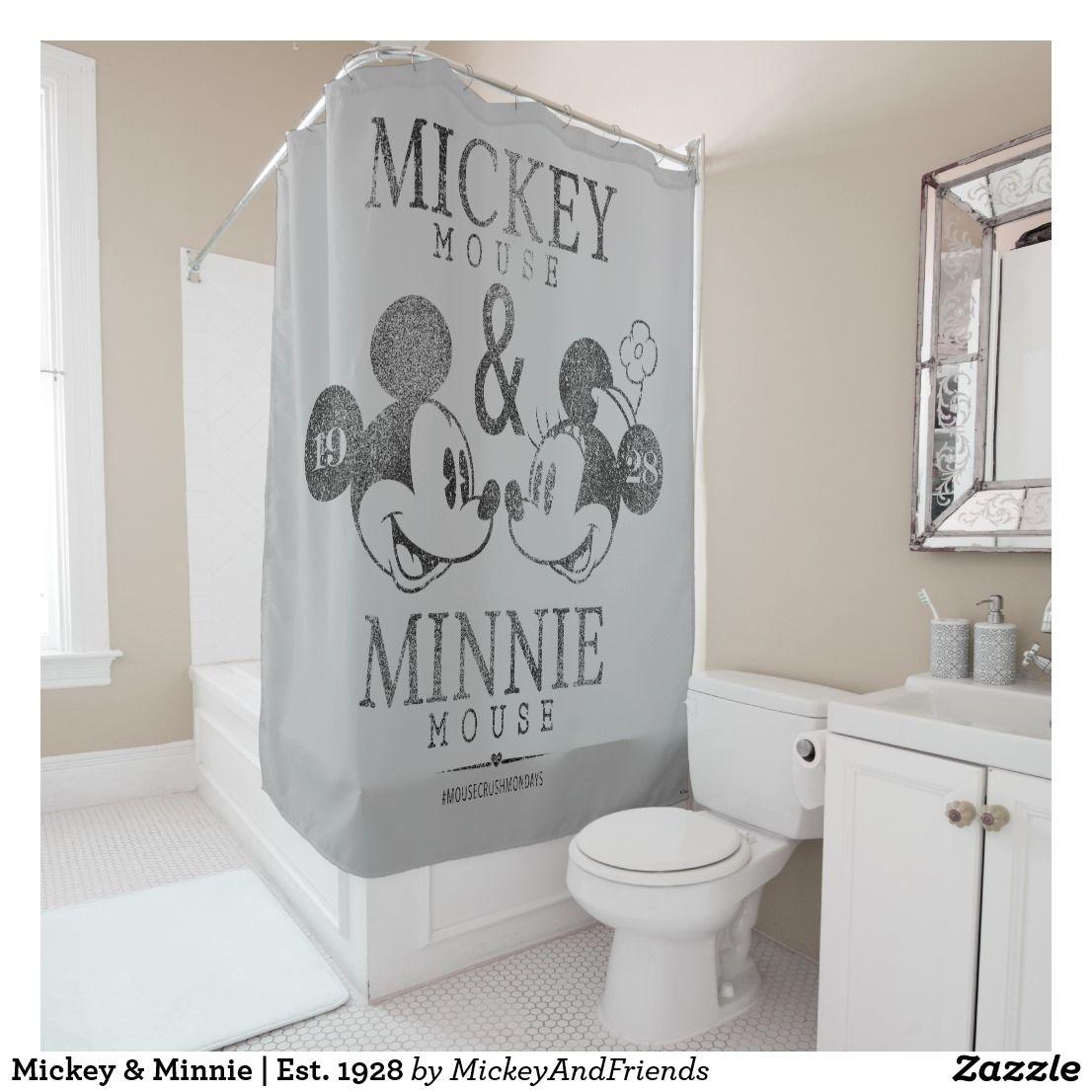 Mickey Minnie Est 1928 Shower Curtain Zazzle Com Mickey