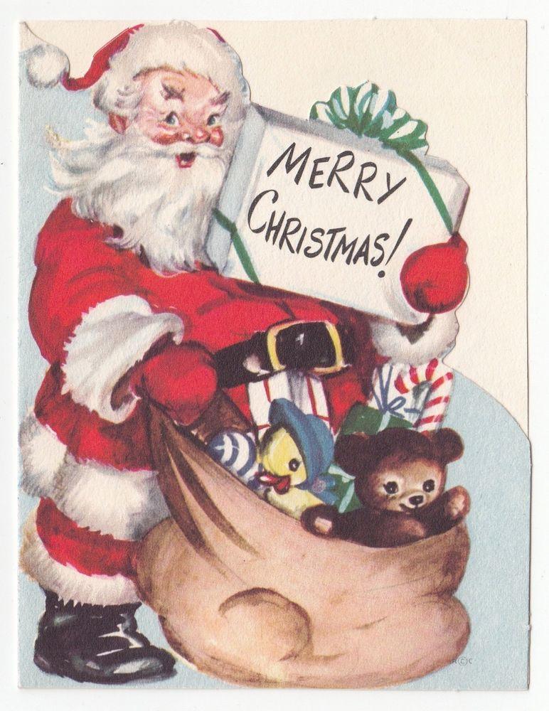 Vintage Greeting Card Christmas Die-Cut Santa Claus Bag of Toys Rust Craft 1950s
