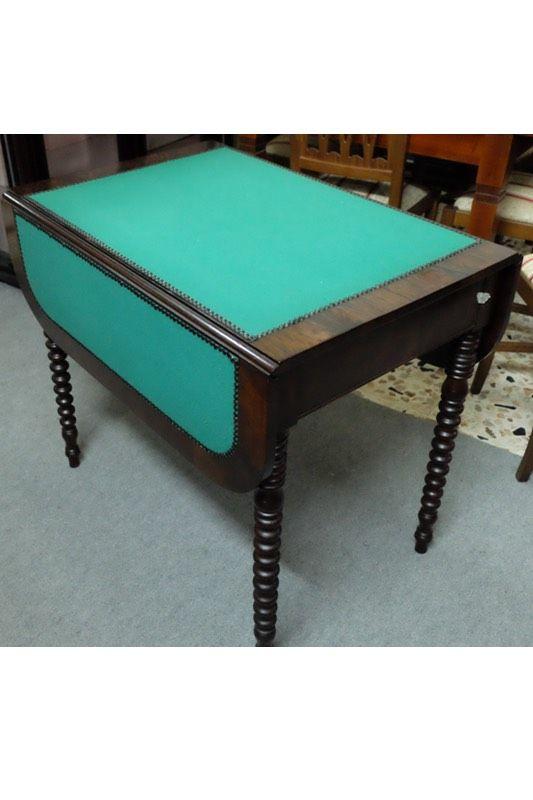 Tavolo da gioco con panno verde periodo 39 800 restaurato for Mobili 800 siciliano prezzi