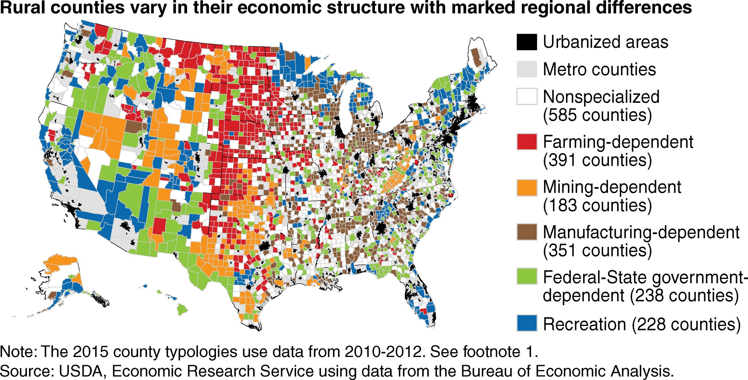 Main economic source by county by USDA #map #usa #economy | maps