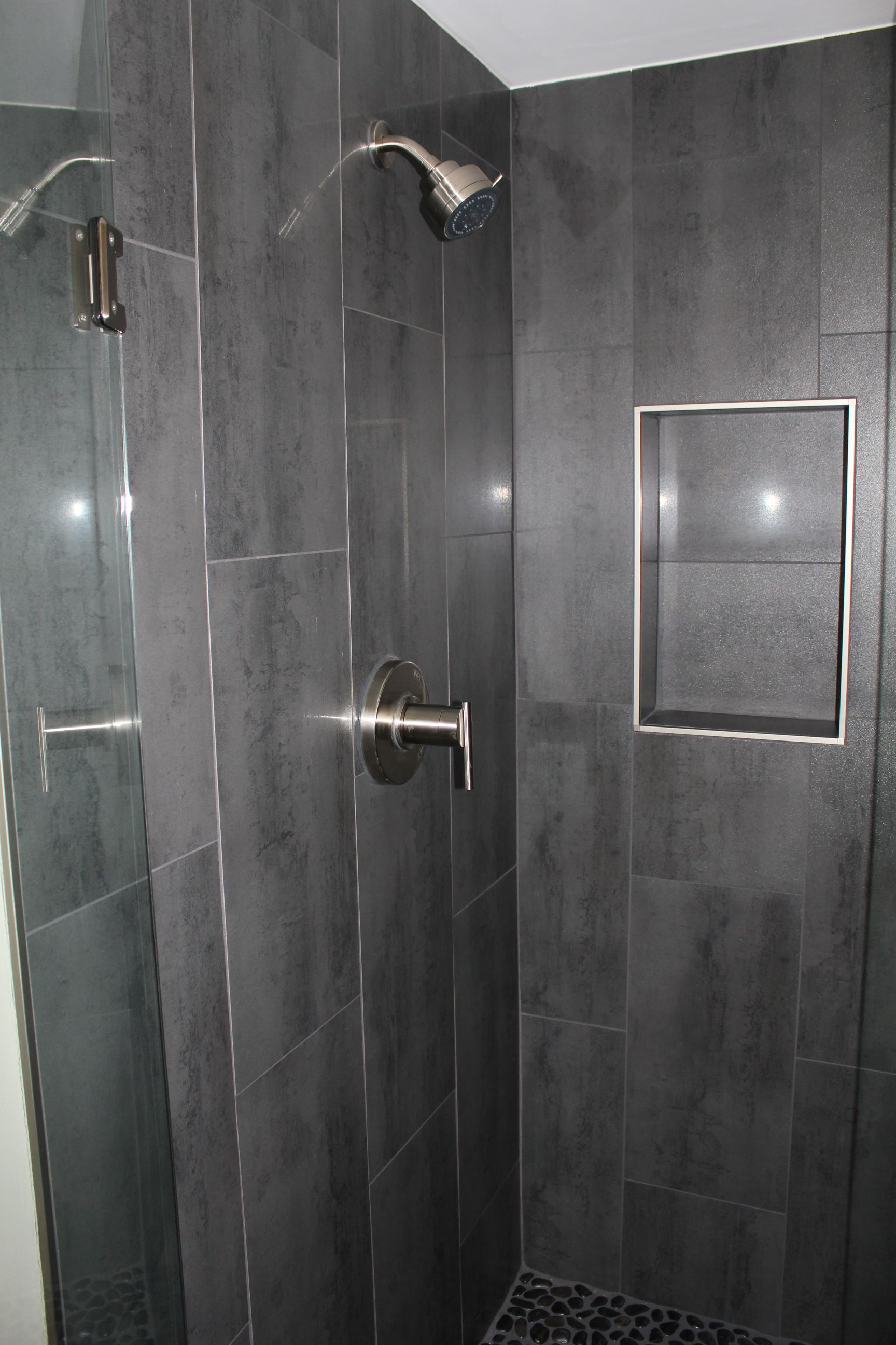 Niche W Out Bullnose Gray 12 X 24 Shower Tile With Danze Shower Faucet Grey Bathroom Tiles Shower Tile Bathroom Wall Tile
