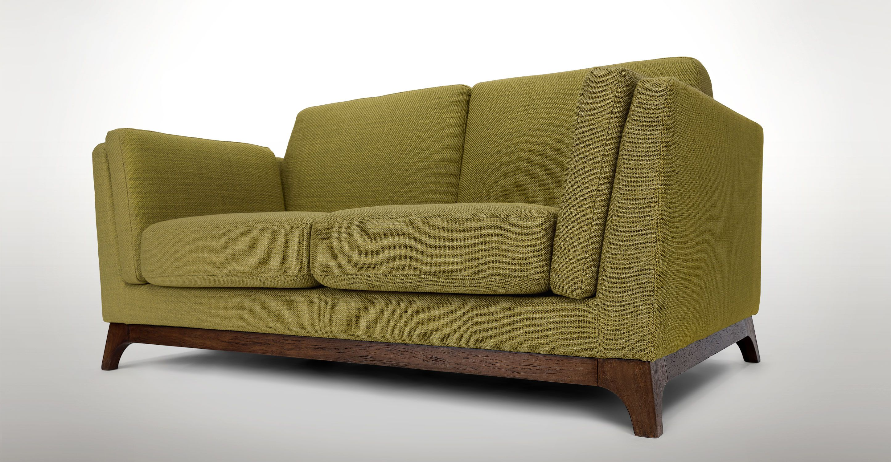 Green Fabric Loveseat - Solid Wood Legs | Article Ceni ...