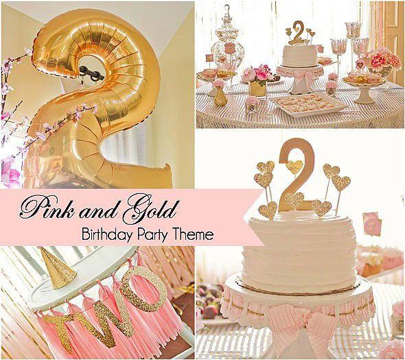 Cumpleaños rosa y dorado