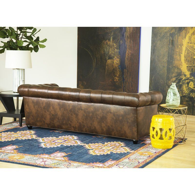 Harlem Genuine Leather Chesterfield 86 Quot Rolled Arm Sofa