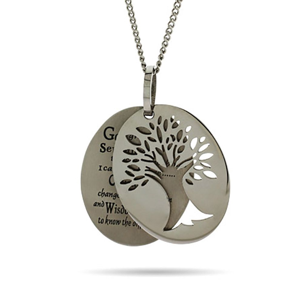 Engravable serenity prayer tree of life necklace pinterest serenity prayer necklace at eves addiction the serenity prayer is written on a tag decorated with a tree aloadofball Images