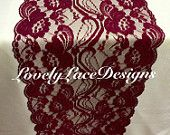 "Burgundy Lace Table Runner/12ft-20ft long x 7"" Wide/Wedding Decor/ Lace Overlay/Tabletop Decor/Weddings/Etsy finds/ ENDS NOT SEWN"