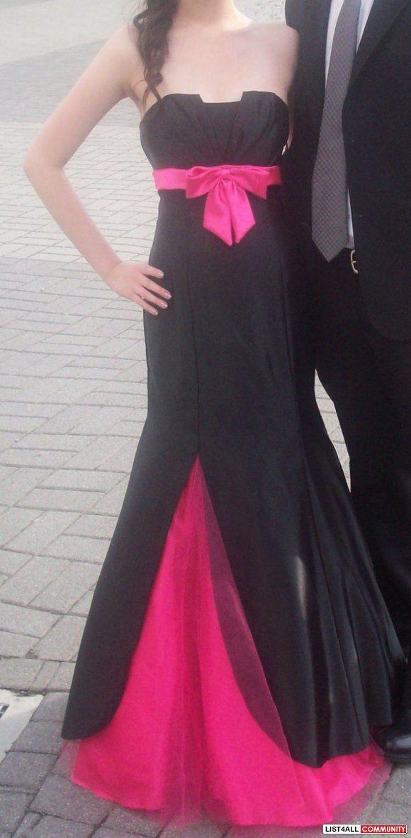 b6d8a5625bfc9 satin formal black and hot pink dresses | Laura black/hot pink satin/sash  prom dress (size 2-4) :: dollcena .
