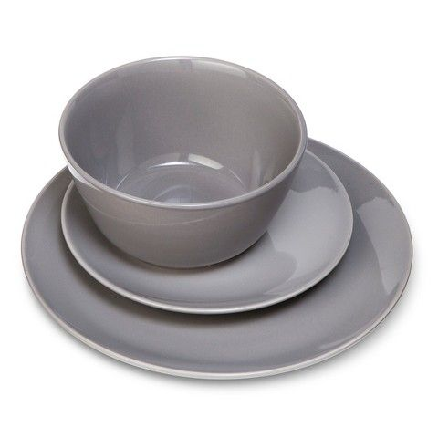 TARGET - Room Essentials™ Coupe Gray 12 piece Dinnerware Set - also comes in white or red  sc 1 st  Pinterest & TARGET - Room Essentials™ Coupe Gray 12 piece Dinnerware Set - also ...
