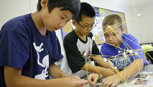 Students Working On An Architecture Project With Spaghetti And Marshmallows Montclair G T Program