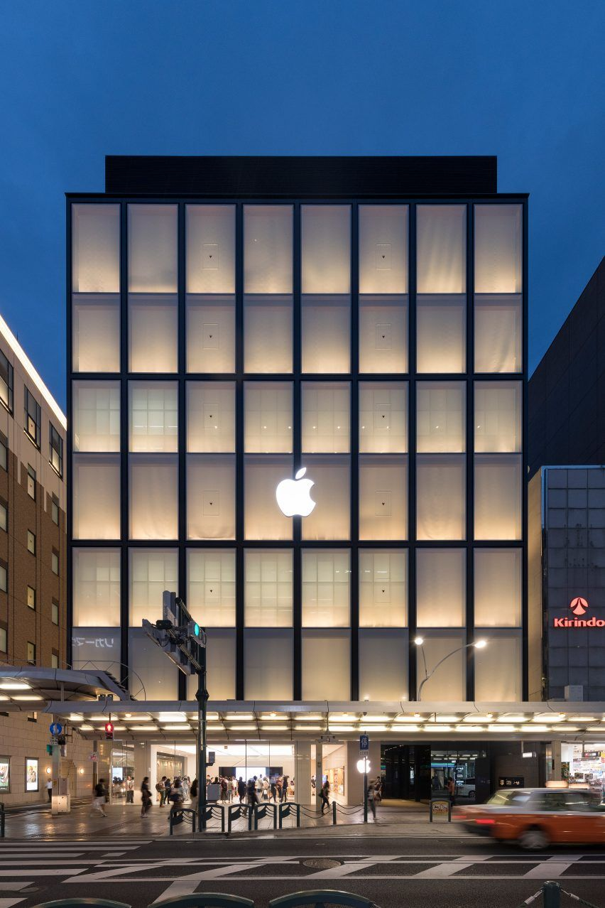 Foster Partners Models Apple Store Kyoto On Traditional Japanese Houses And Lanterns Store Architecture Retail Facade Facade Architecture