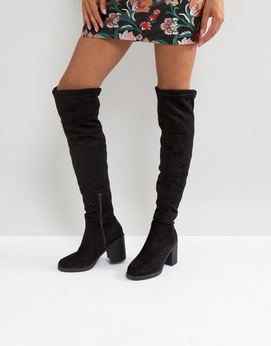 dcc8bcc37bf Truffle Collection Chunky Heel Stretch Over Knee Boots - Black ...