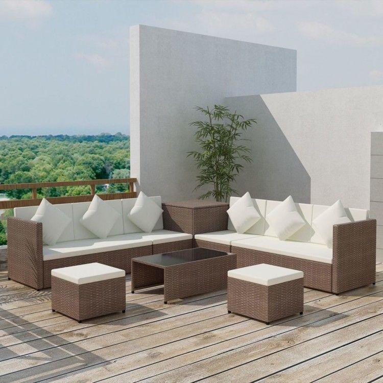 Rattan Garden Furniture Set Brown Corner Sofa Stools Coffee