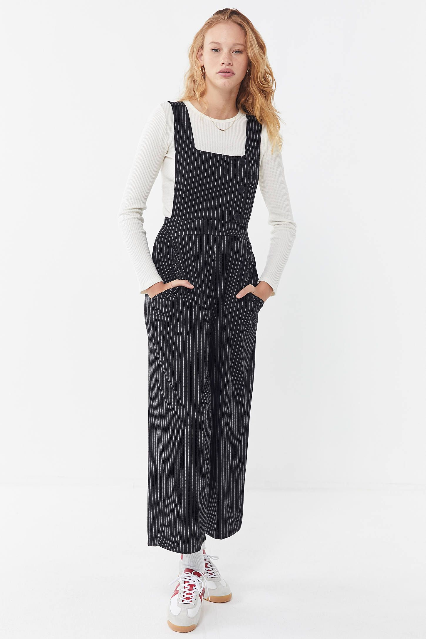 322fcf76 UO Phoebe Pinstripe Pinafore Jumpsuit in 2019 | jump for my love ...