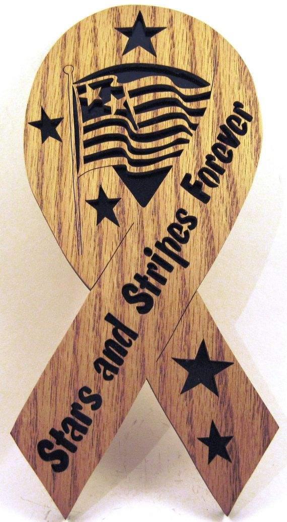 Stars and Stripes Forever Ribbon scroll saw cut--1p Wood working