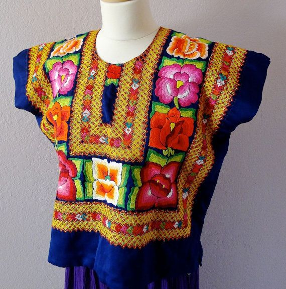 Mexican embroidery VINTAGE Tehuana huipil dark blue satin blouse ...