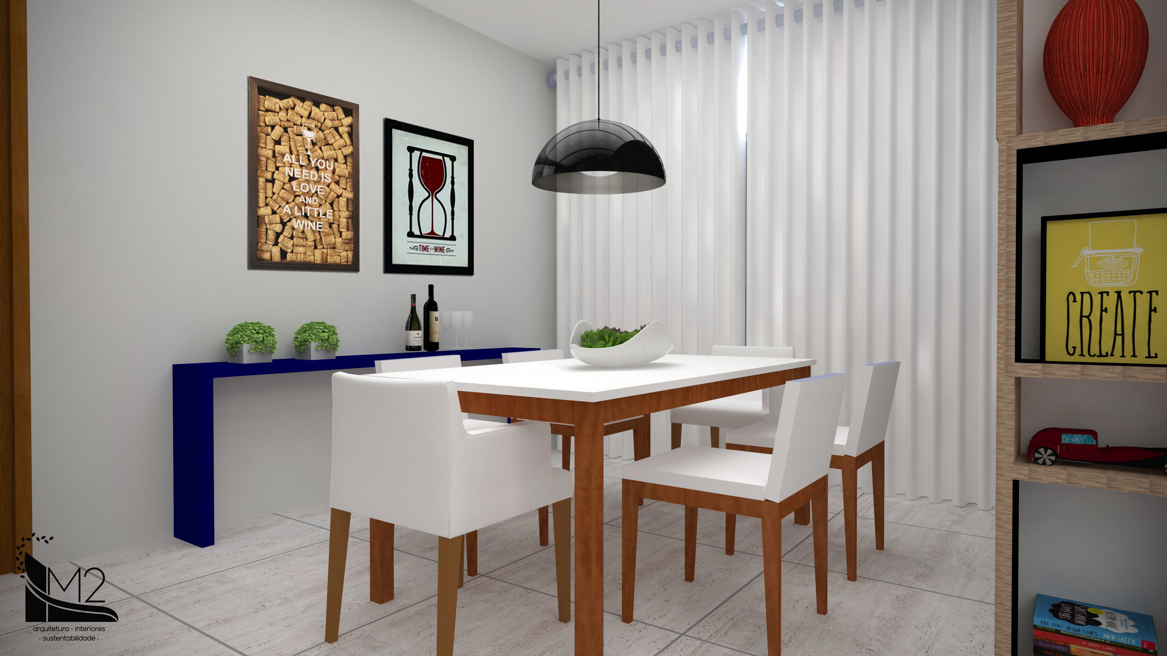 Sala De Jantar Minimalista A Decora O Valoriza Os Adornos Atrav S  -> Decoracao Sala De Jantar Azul