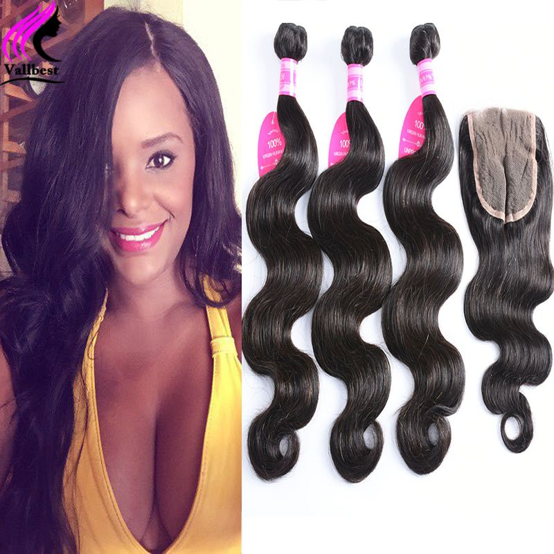 Natural Wave Cheap Human Virgin Hair Brazilian Body Wave With Closure 4 Bundles With Closure Body Wave Hair With Lace Closure