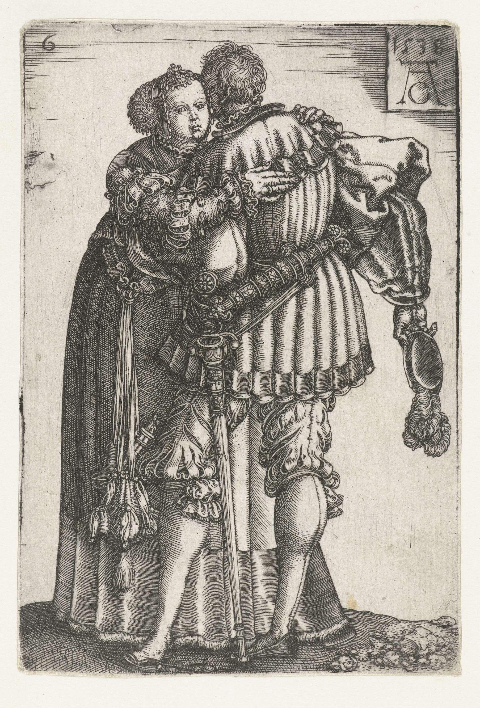 Omhelzend Paar Heinrich Aldegrever 1538 Flinderhauben