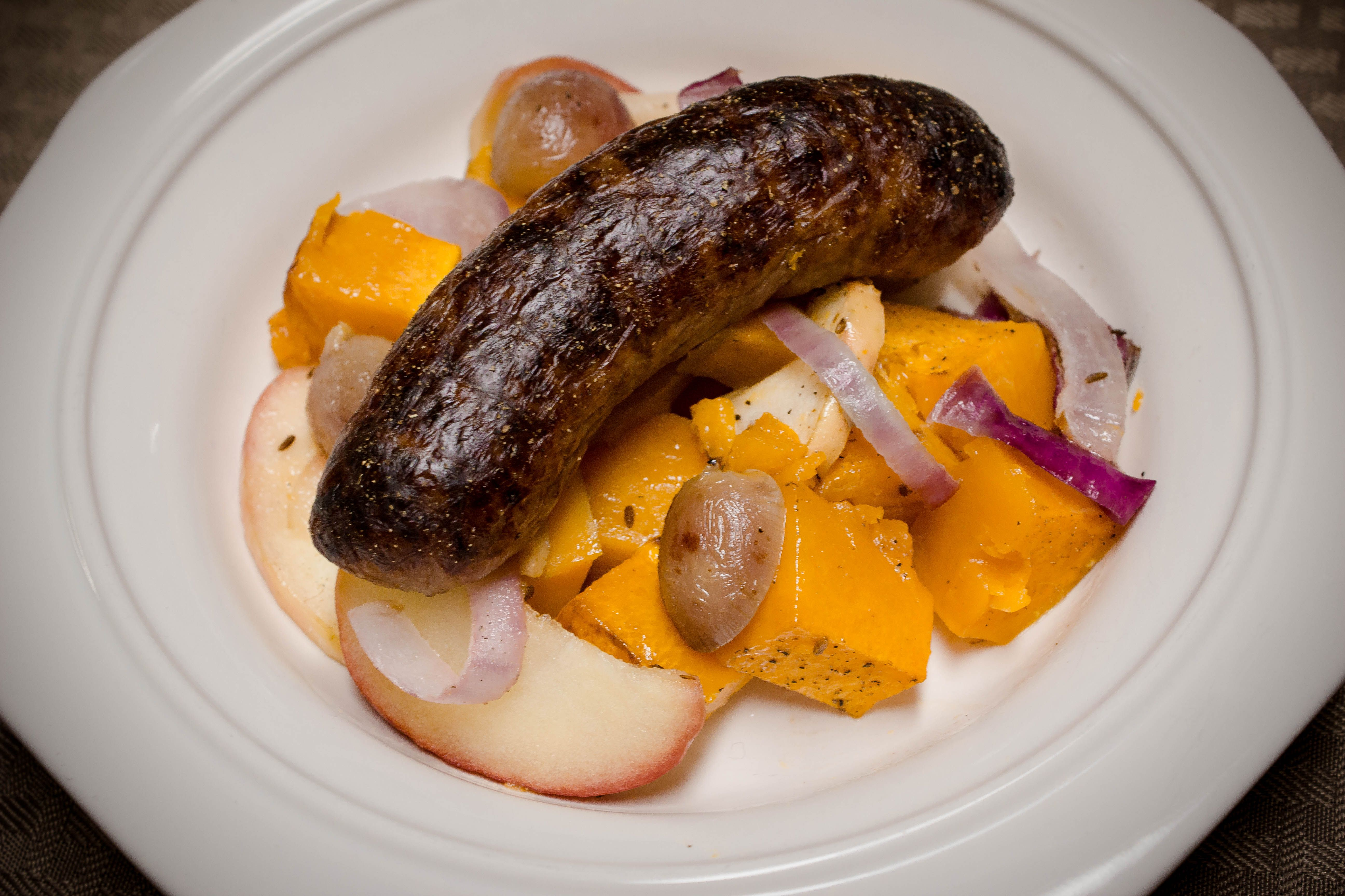 Brats with Butternut Squash and Apples | Faithfully Healthy