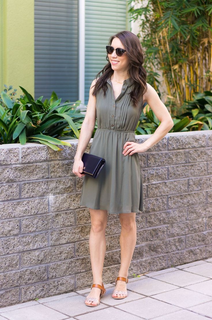 Green dress ideas   GoTo Spring Outfit Formulas  Olive green dresses Neutral