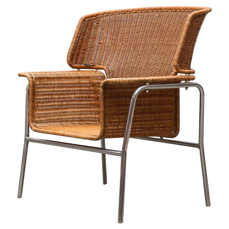 Rare Dirk Van Sliedregt Rattan Throne Lounge Chair