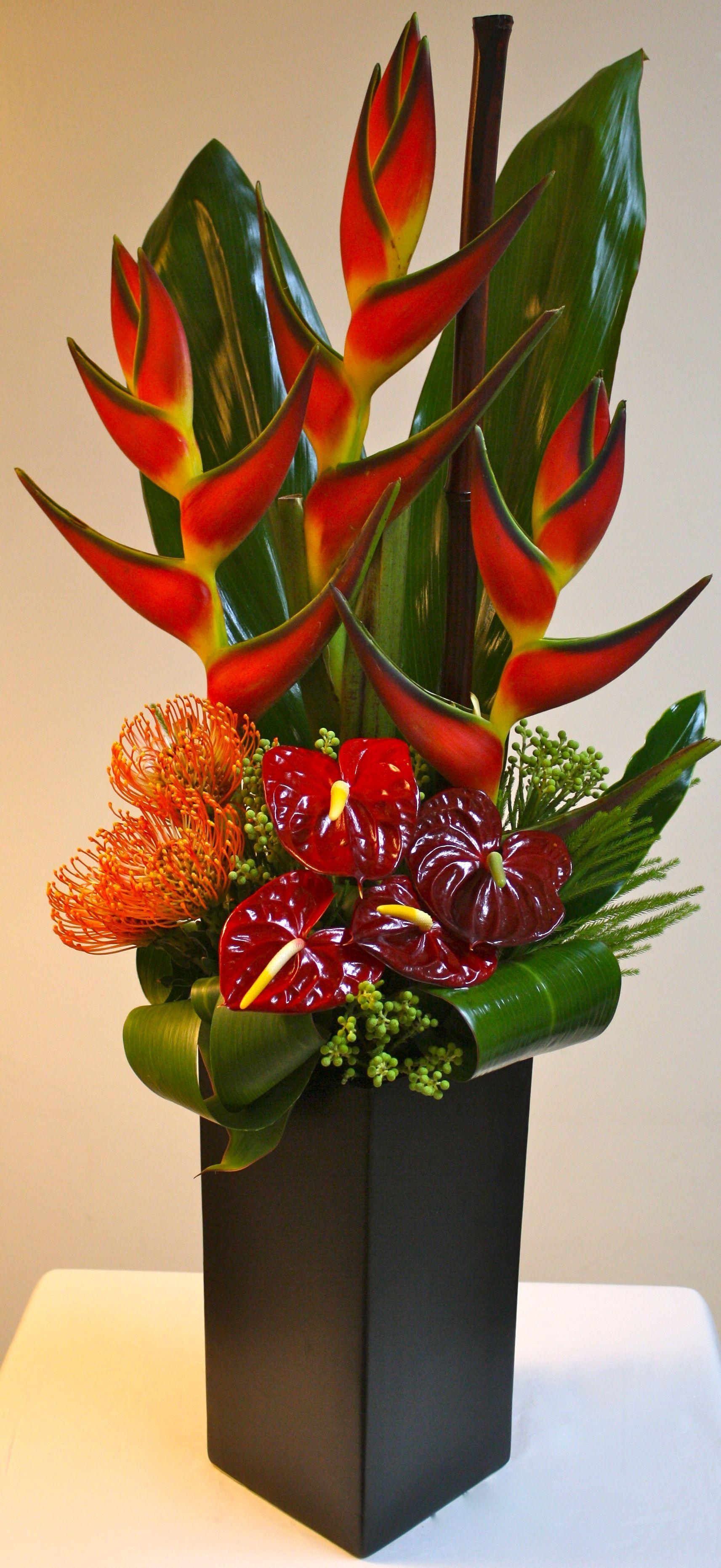 Complimented Anthurium Paradise Tropical Cushions Tropical Ceramic Jordan Or Tropical Floral Arrangements Church Flower Arrangements Corporate Flowers