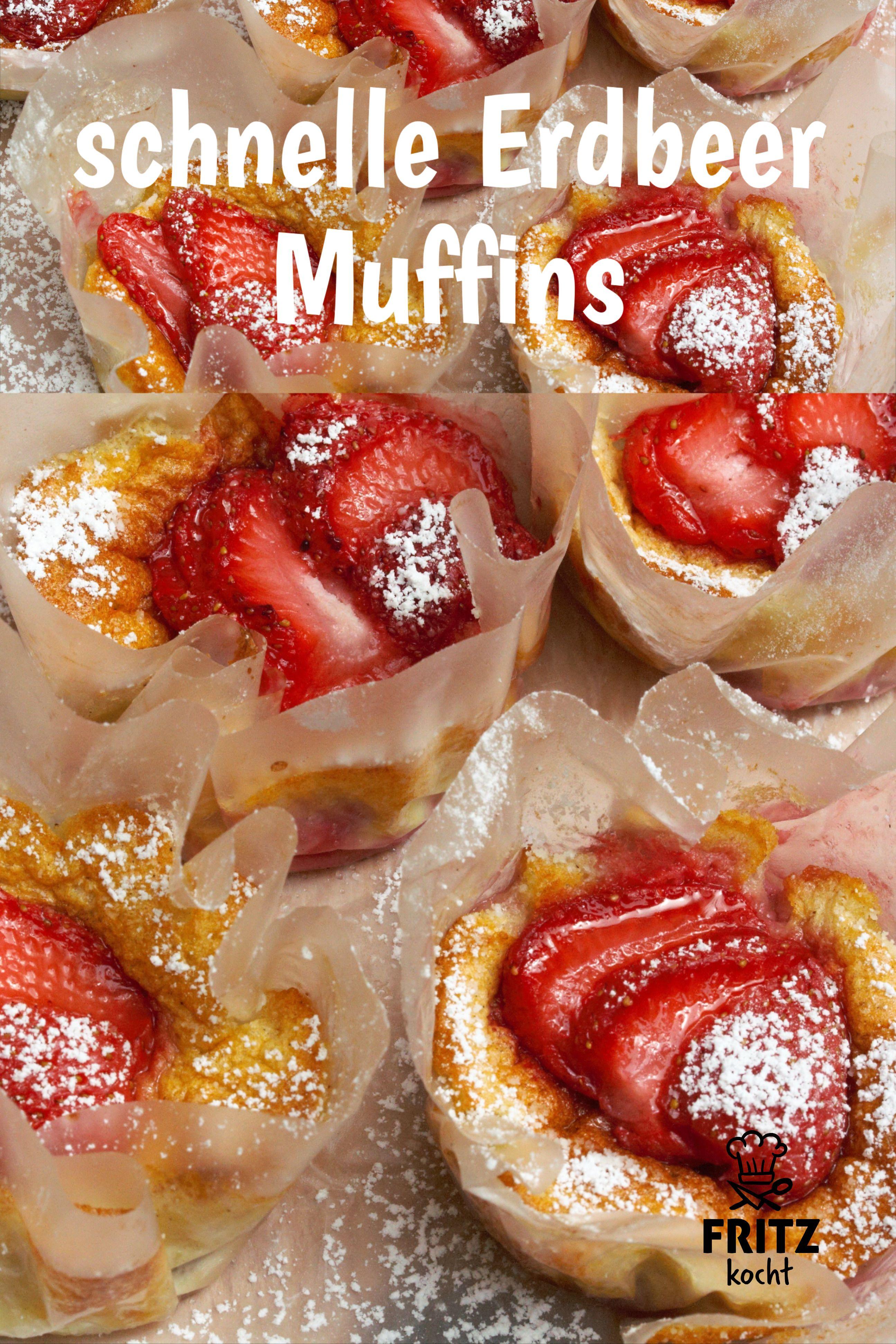 schnelle, einfache Erdbeer Muffins so lecker