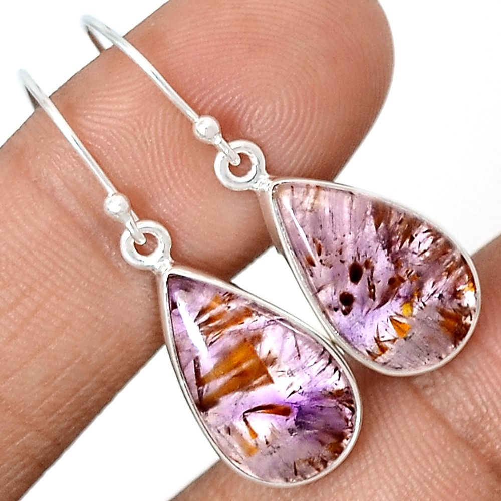Cacoxenite Super Seven Mineral Melody Stone 925 Sterling Silver Earrings Jewelry CACE480