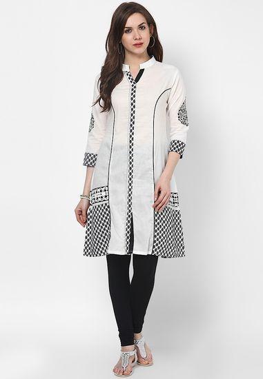 b3a7b8f9e0b Off White Embroidered Cotton Kurti - SPAN Kurtas   kurtis for women ...