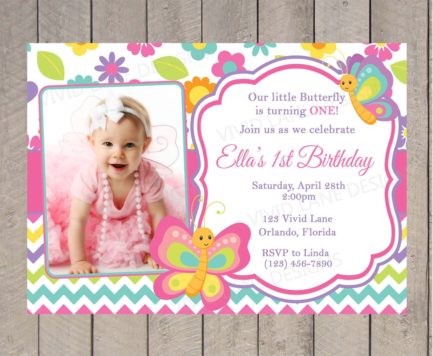 Butterflies Birthday Invitation Spring First by VividLaneDesigns – Butterfly Invitations Birthday
