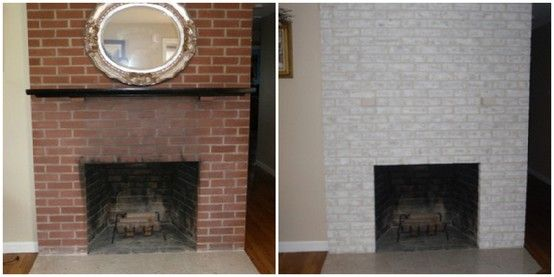 Before And After Painting An Old Red Fireplace Can Really Change