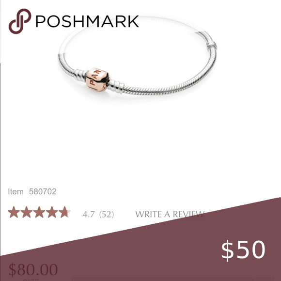 Who Sells Pandora Jewelry: EUC Pandora Bracelet, Silver W/ Rose Gold Clasp Silver