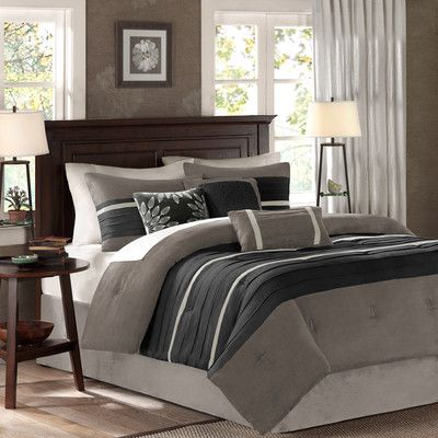 Madison Park Palmer 7 Piece Reversible Comforter Set Size: California King, Color: Black / Gray