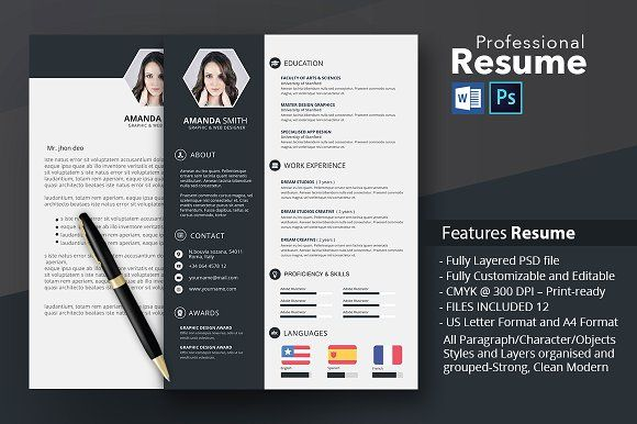 Resume Template Word And Photoshop Creative And Modern Resume