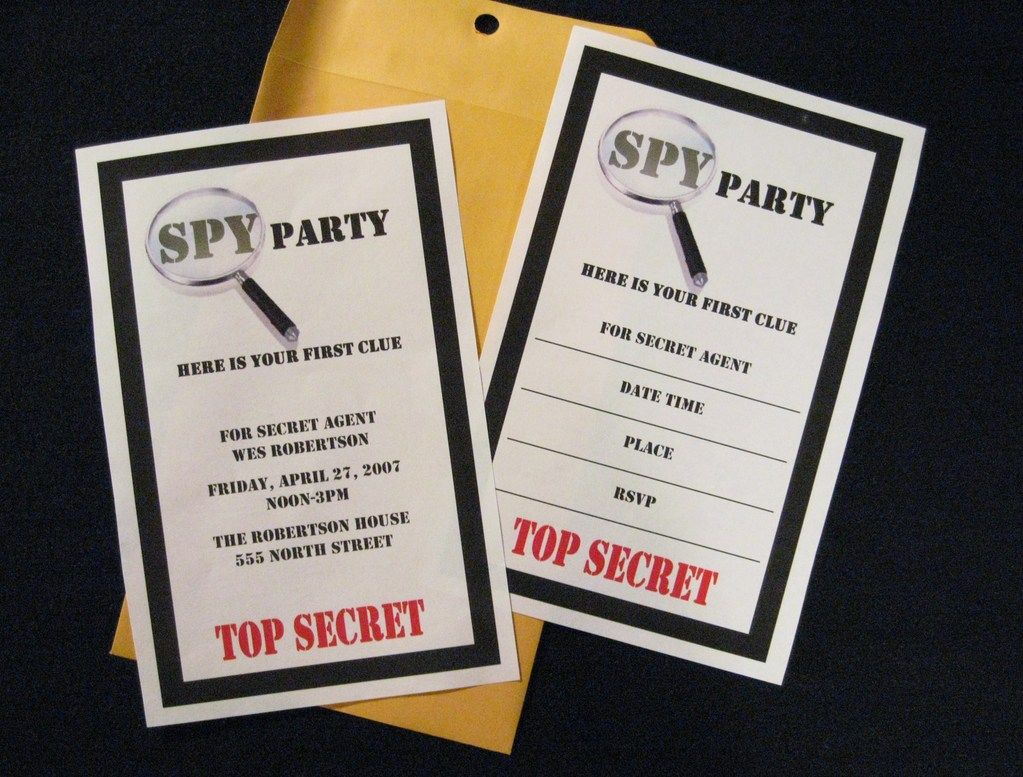 Los Angeles SpySecret Agent Invitations with Manilla Envelopes by – Spy Party Invitation