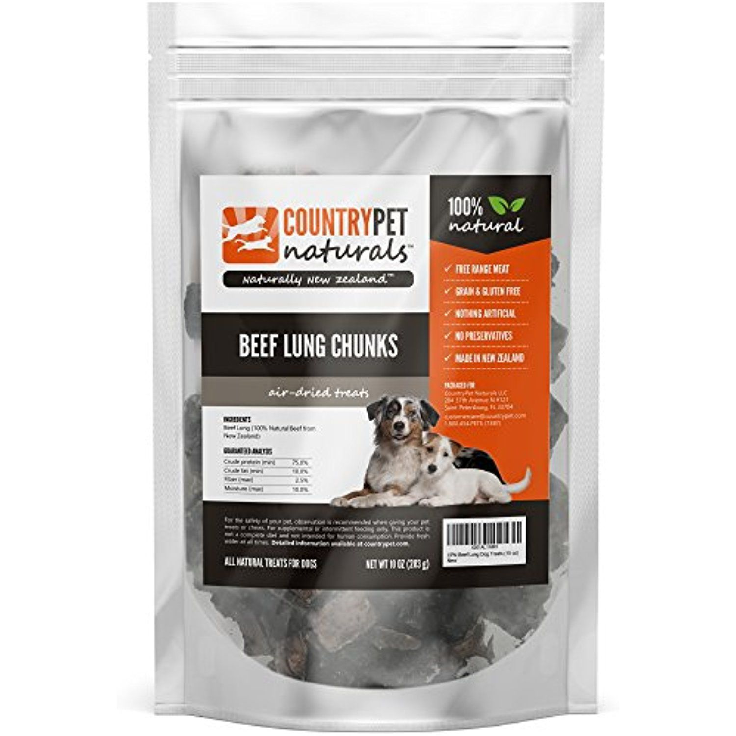 Beef Lung Treats for Dogs by CountryPet Naturals (Large