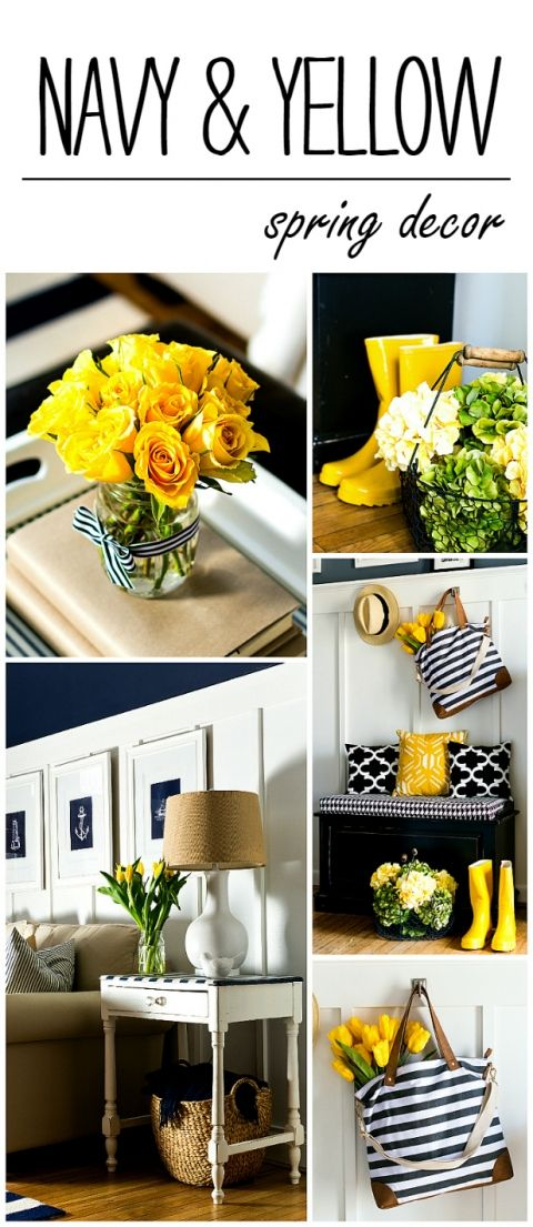 Navy Yellow Decorating Ideas for Spring
