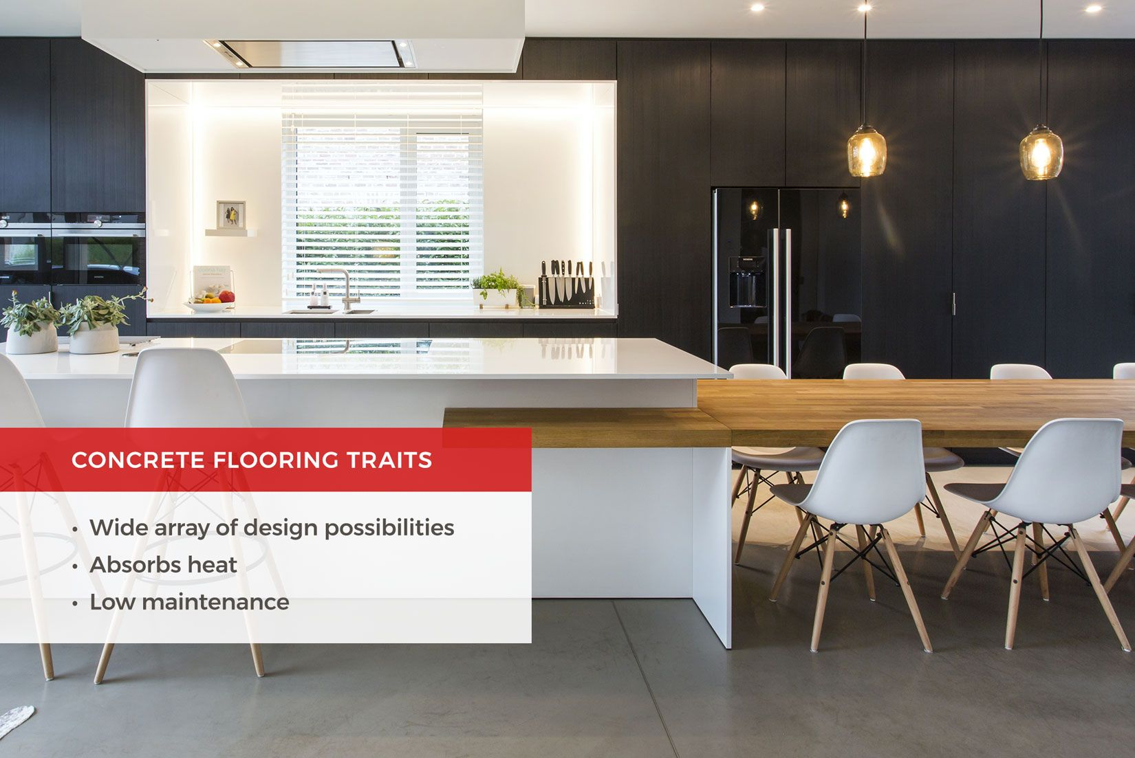 Concrete kitchen flooring is incredibly durable and easy to clean ...