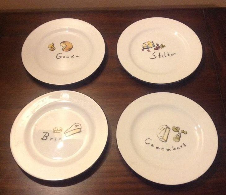 Set of 4 POTTERY BARN Cheese Plates 7 3 4 VGUC & Set of 4 POTTERY BARN