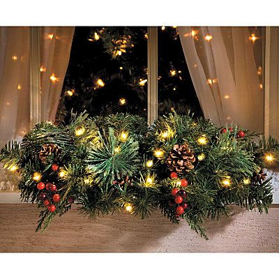 Christmas Pre Lit Window Swag Christmas Window Decorations Decorating With Christmas Lights Outdoor Christmas Decorations