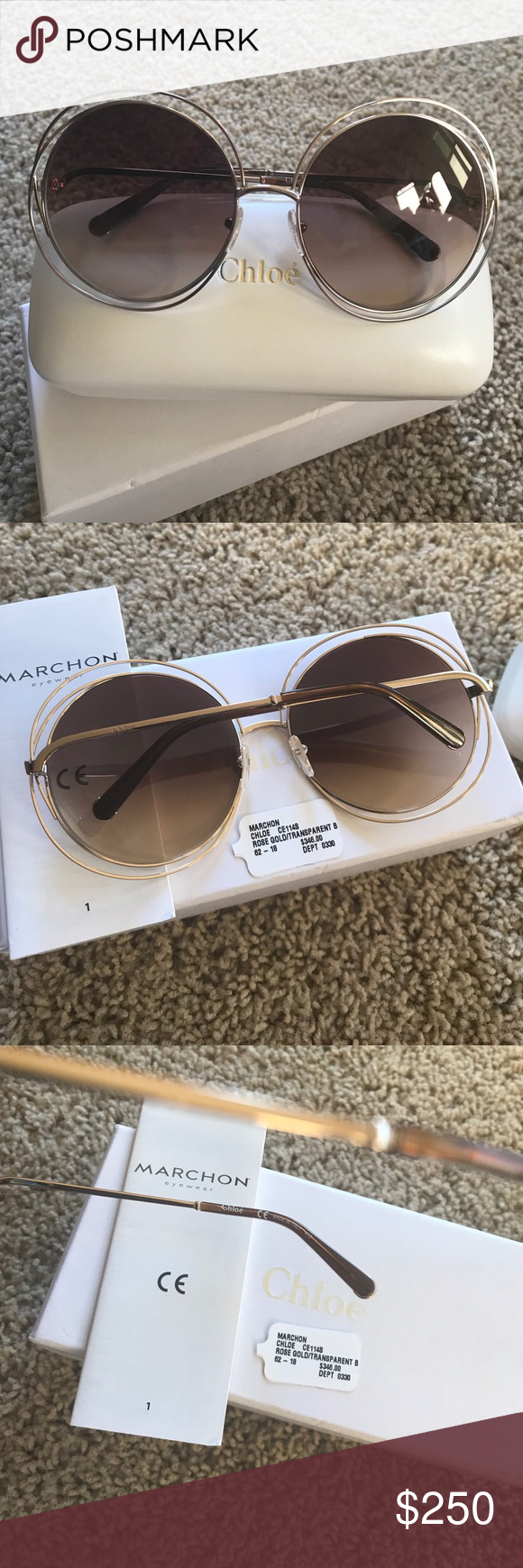 6758a3ce0938 Authentic Chloe Carlina Round Oversized Sunglasses Chloe sunglasses. Case