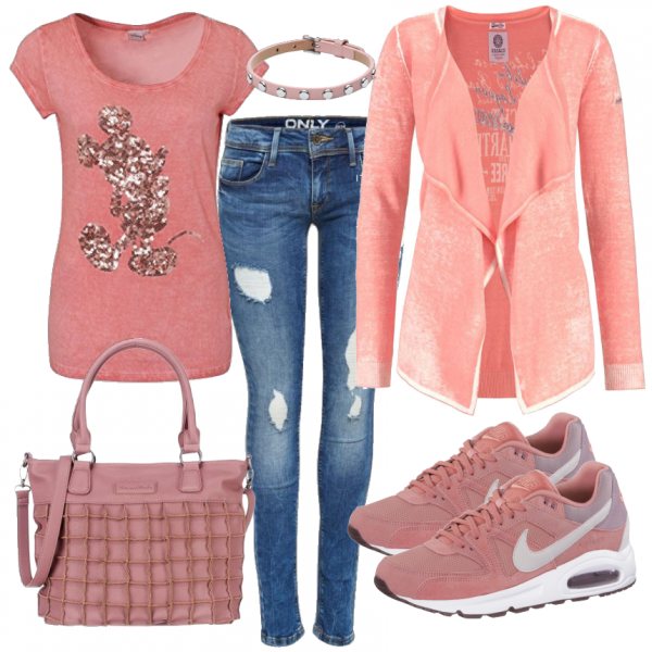 Fruhlings Outfits Springmickey Bei Frauenoutfits Dedieses Casual Outfit Bringt Durch Die Schonen Altrosa Tone Den F Girly Outfits Fashion Outfits Cute Outfits