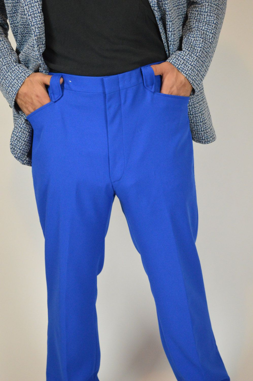 Disco Pants, Vintage Disco Pants, Blue Mens  Pants, Polyester Pants, Western Cut pants, Disco Party Pants, by BuffaloGalVintage on Etsy