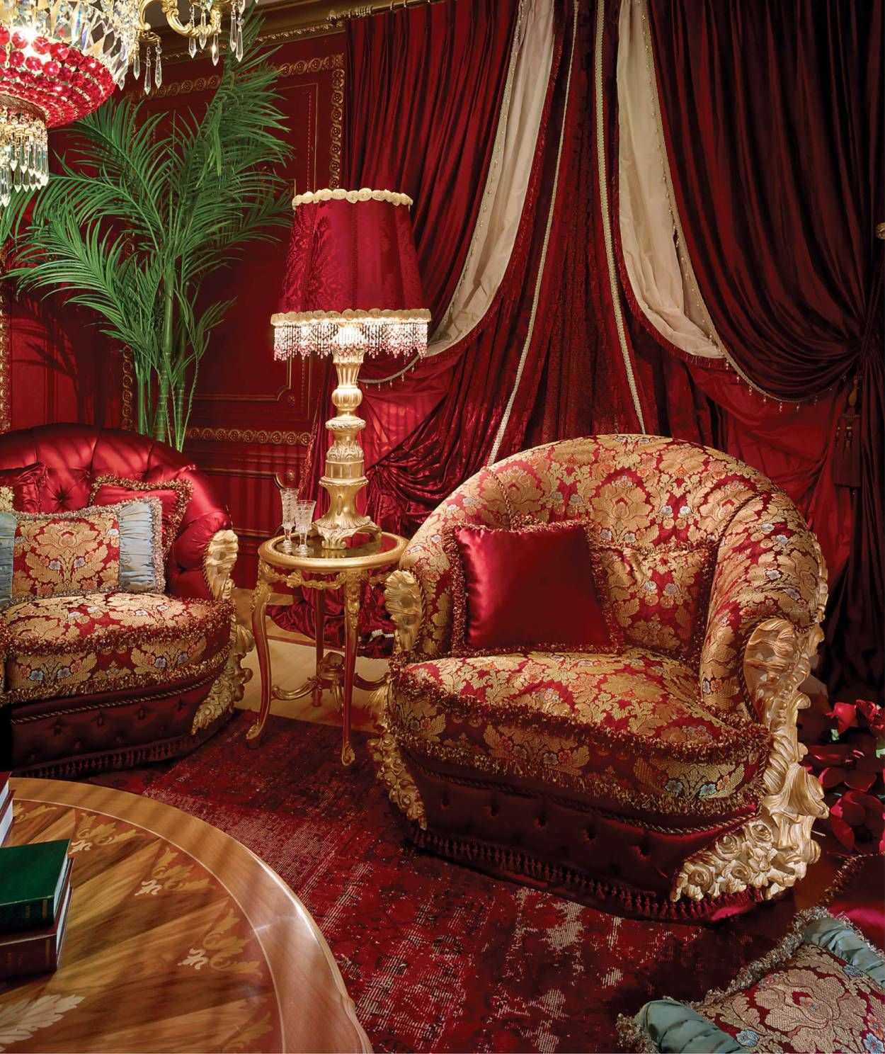 Baroque Red And Gold Living Room Luxury Italian Furniture Baroque Living Room Baroque Furniture Red luxury room pictures