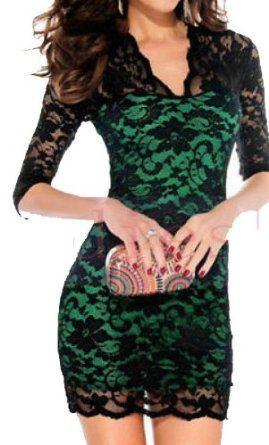 Lady Sexy V-neck Slim Pencil Fit Mini Lace Dress at Amazon Women's ...