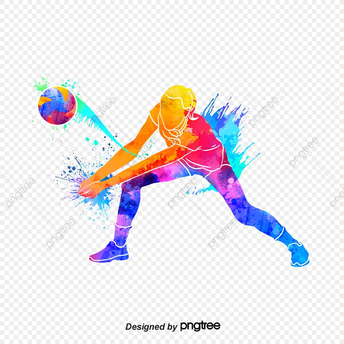Silhouettes Of Creative Volleyball Players Multicolored Character Sports Png Transparent Clipart Image And Psd File For Free Download In 2020 Volleyball Players Volleyball American Football Players